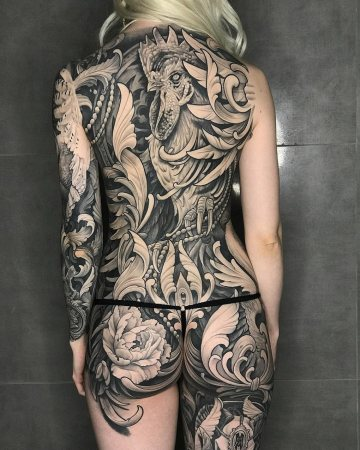 Filigree & rooster back tattoo