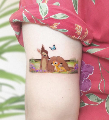 Bambi, small arm tattoo