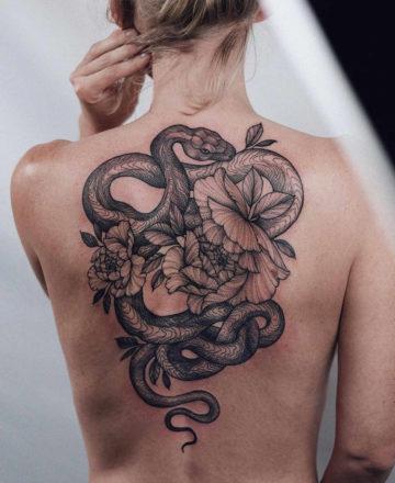 Snake & flowers b&g back piece