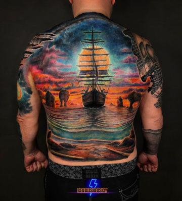 Sailing Ship Full Back Tattoo