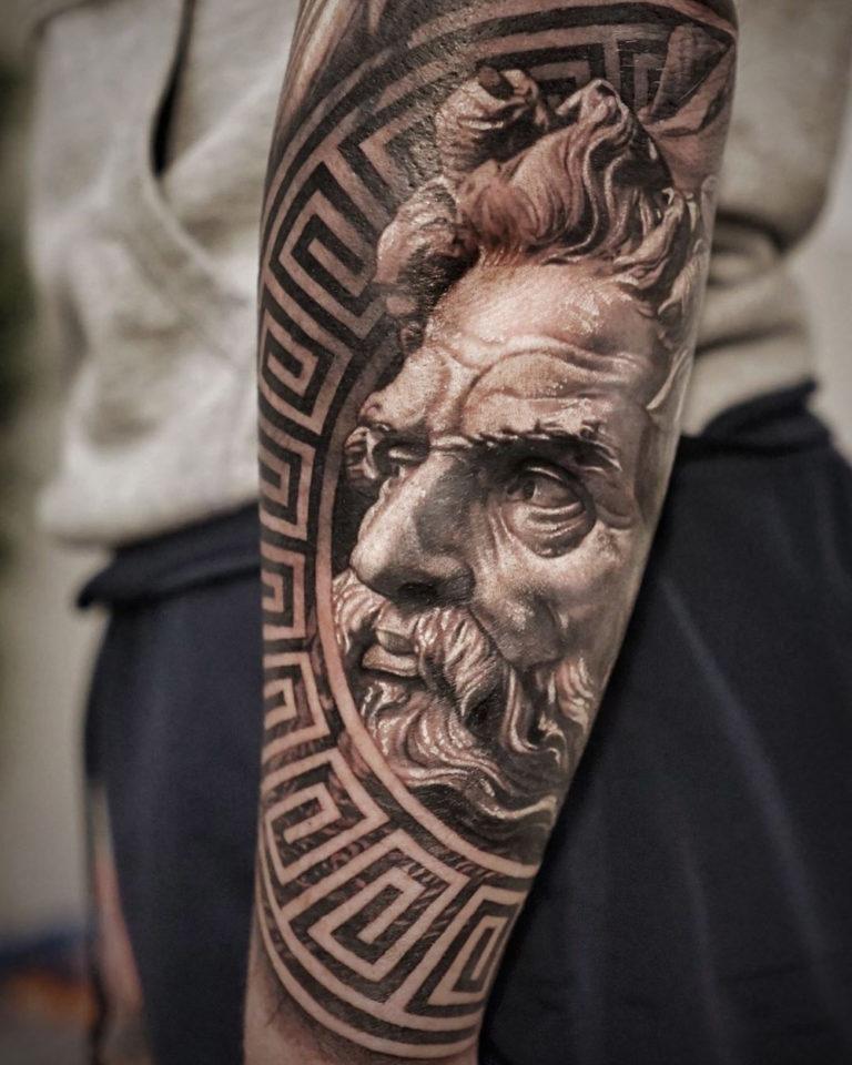 Poseidon Chest Tattoo : poseidon, chest, tattoo, Poseidon, Portrait