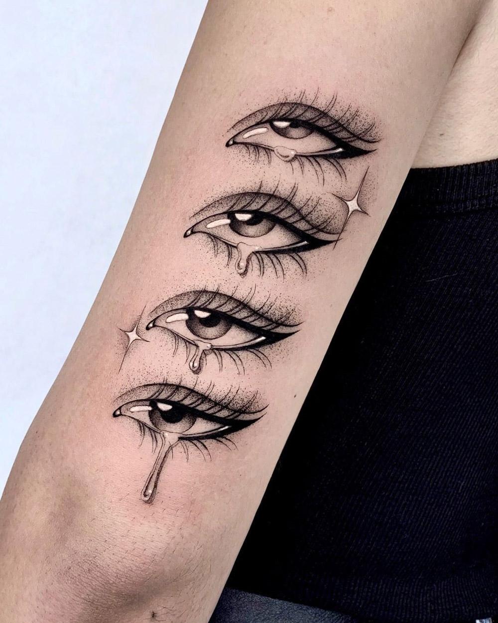 Crying Eye Tattoo : crying, tattoo, Crying, Girl's, Tattoo