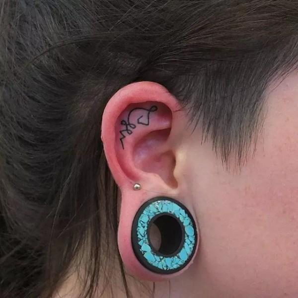 excellent mini ear tattoo design
