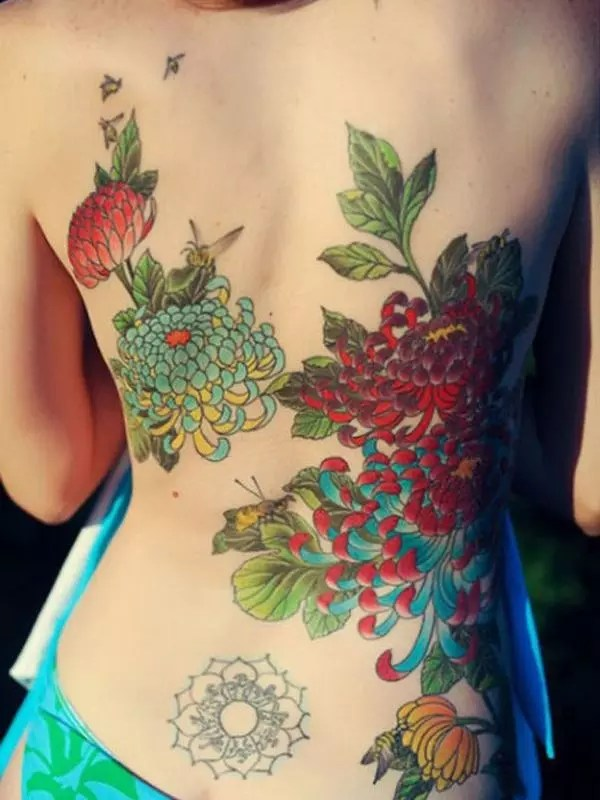 Lower Back Flower Tattoos For Women