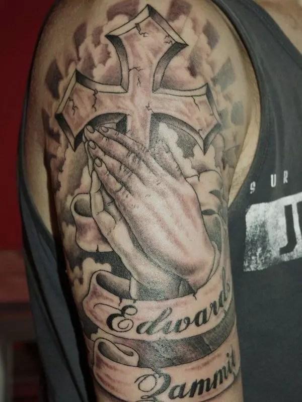 Praying Hands With Cross Tattoos : praying, hands, cross, tattoos, Images, Praying, Hands, Tattoos