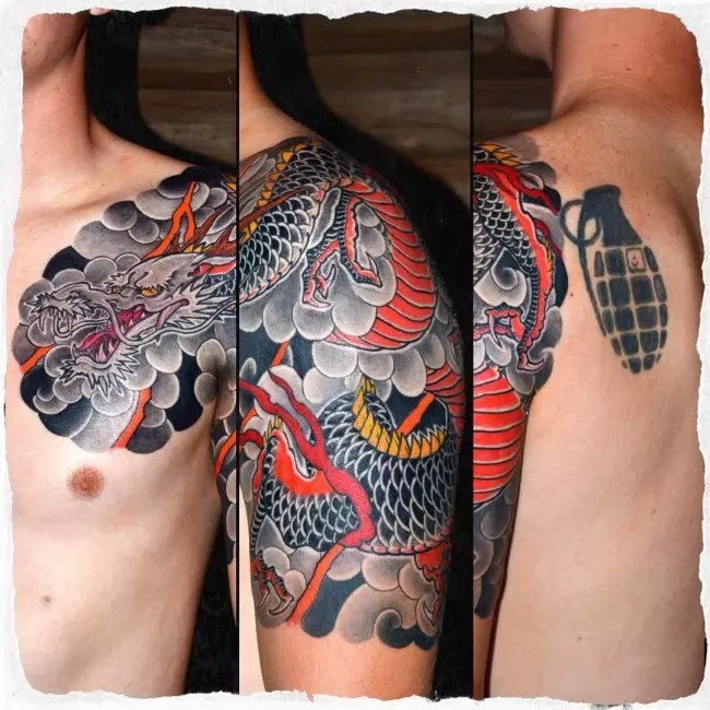 Japanese Style Dragon Half Sleeve Tattoo