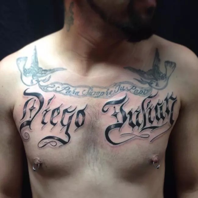 Chest Tattoo Lettering For Men