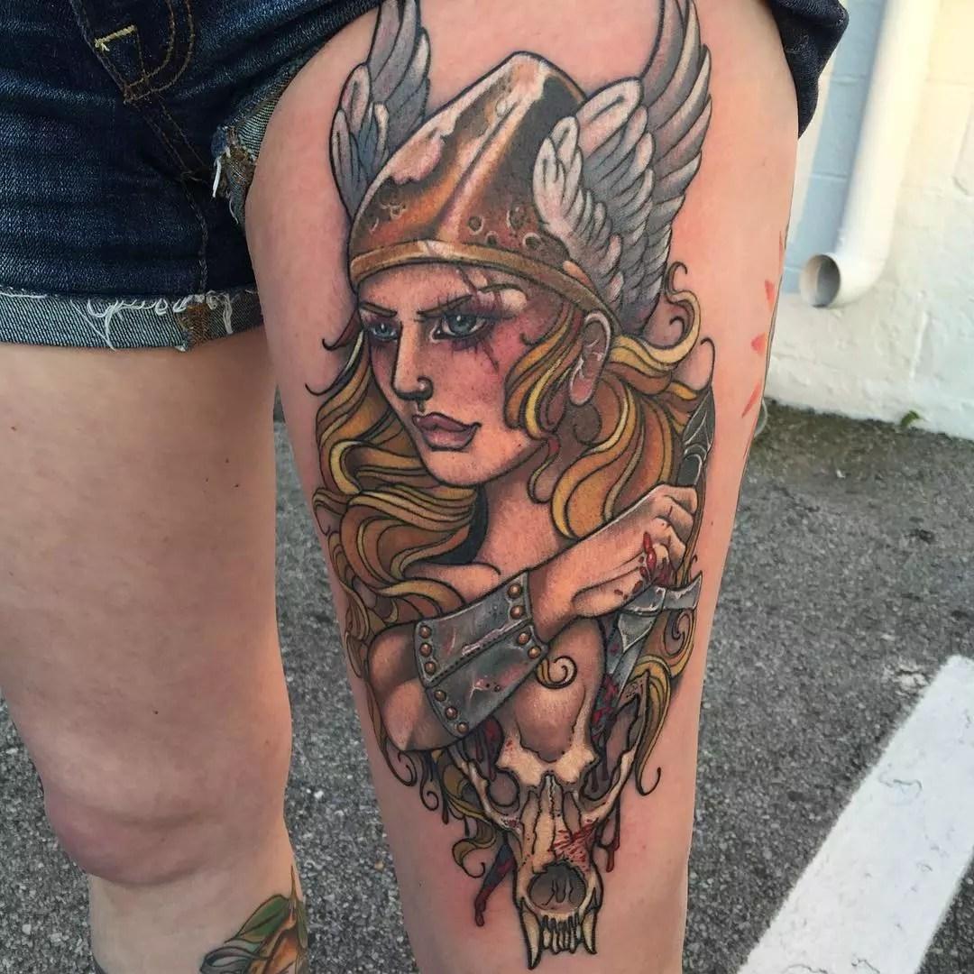 Viking Woman Warrior Tattoos Symbols