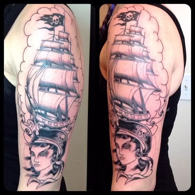Pirate Ship Tattoo Drawings