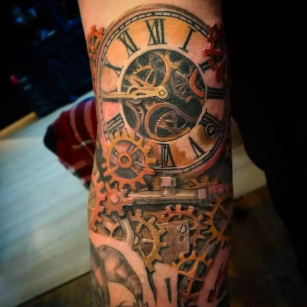 Fantastic Steampunk Tattoo Design - Steamy