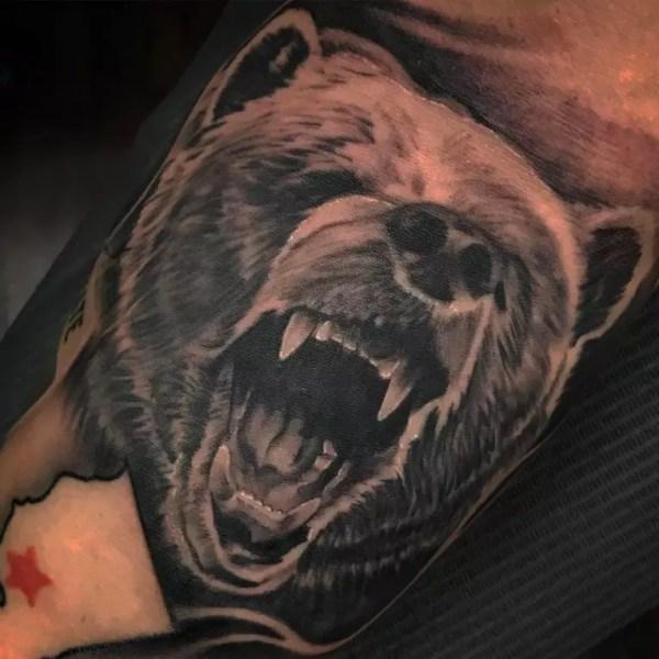 rough bear tattoo design &