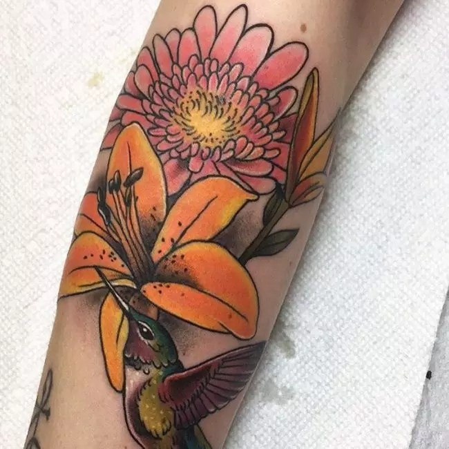 Watercolor Hummingbird And Flower Tattoo