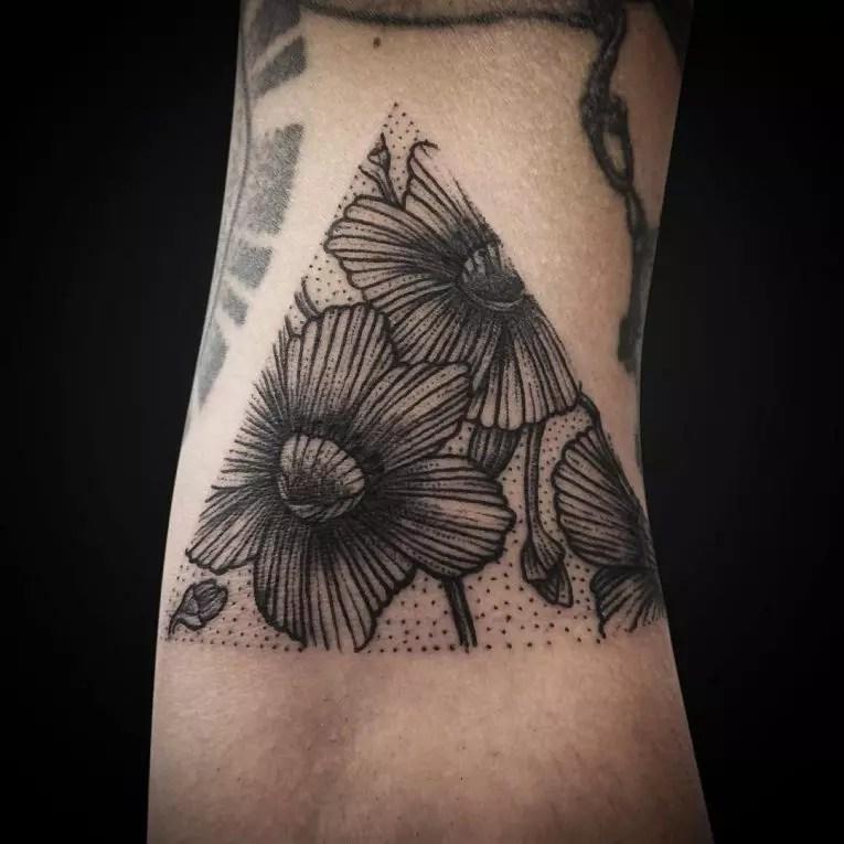 Simple Triangle Flower Tattoo
