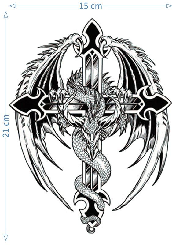 Dragon And Cross Tattoo : dragon, cross, tattoo, Dragon, Cross