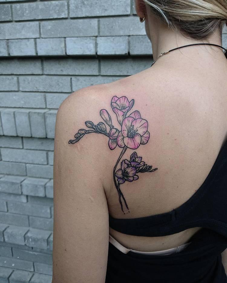 Freesia Flower Tattoo : freesia, flower, tattoo, Beautiful, Delicate, Freesia, Tattoo, Designs, TattooAdore