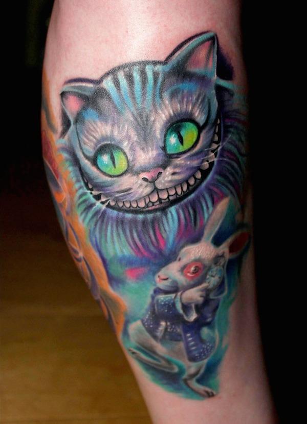 Alice In Wonderland Cat Tattoo : alice, wonderland, tattoo, Alice, Wonderland, Tattoos, TattooBlend