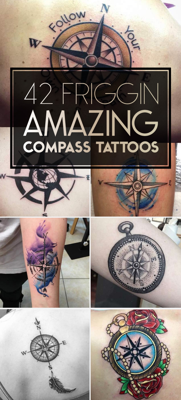Compass Tattoo Designs For Men Back