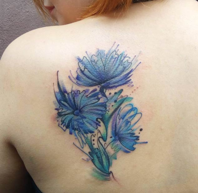 Watercolor Flower Bouquet Tattoo
