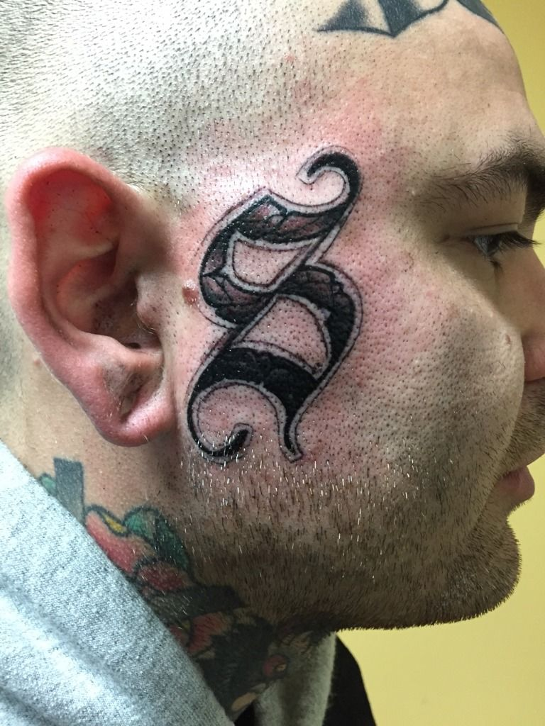 S Tattoo : tattoo, Craighammonds:s-face-tattoo-face-tattoo-side-of-the-face-lettering-s
