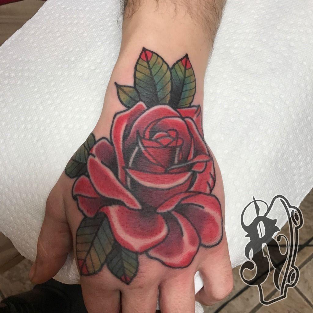 ryantattooer hand jam rose