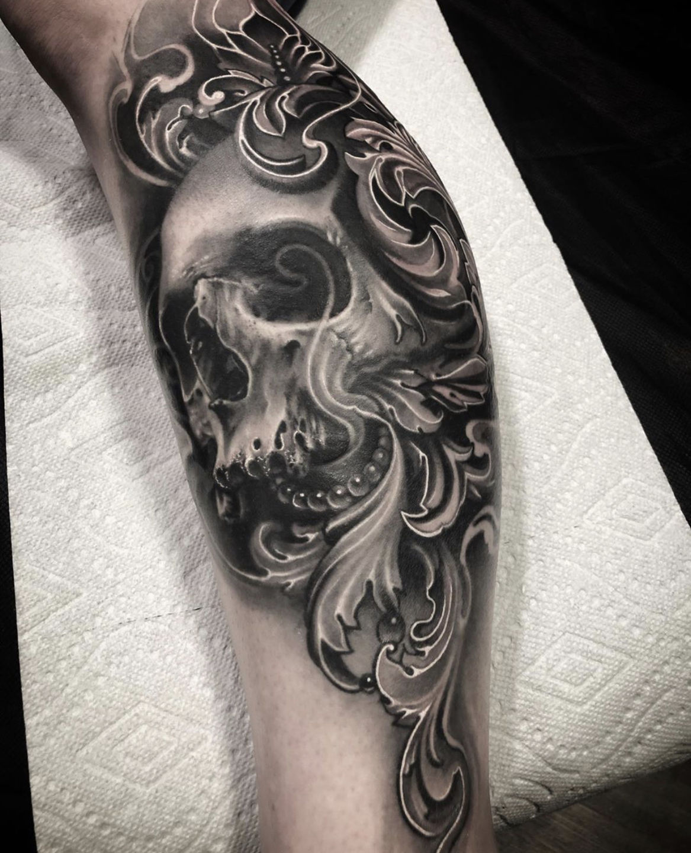 Filagree Tattoo : filagree, tattoo, Drawingdeadart:black-and-grey-realism-skull-filigree