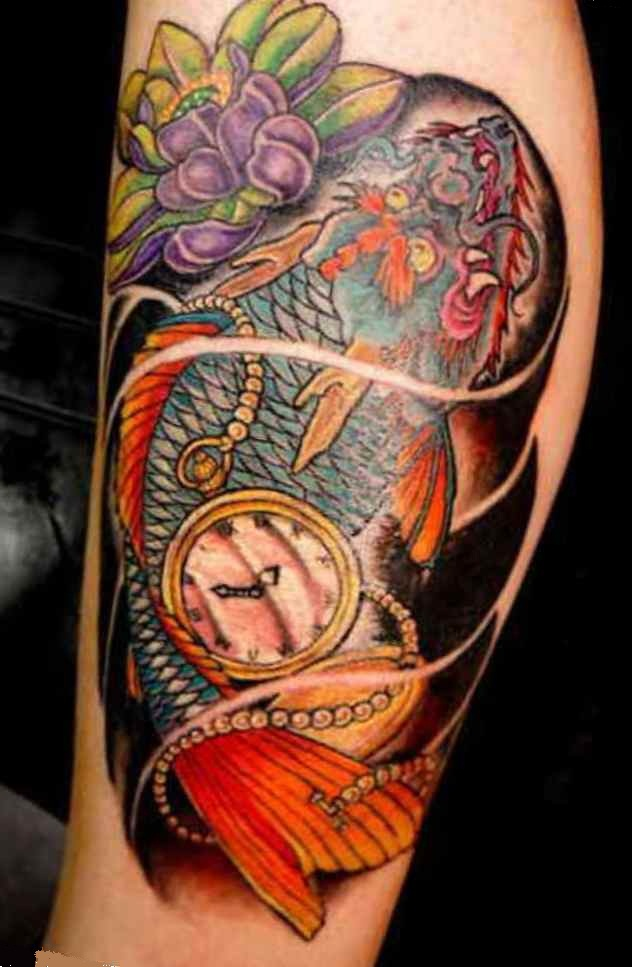 Half Arm Koi Fish Tattoo Sleeve