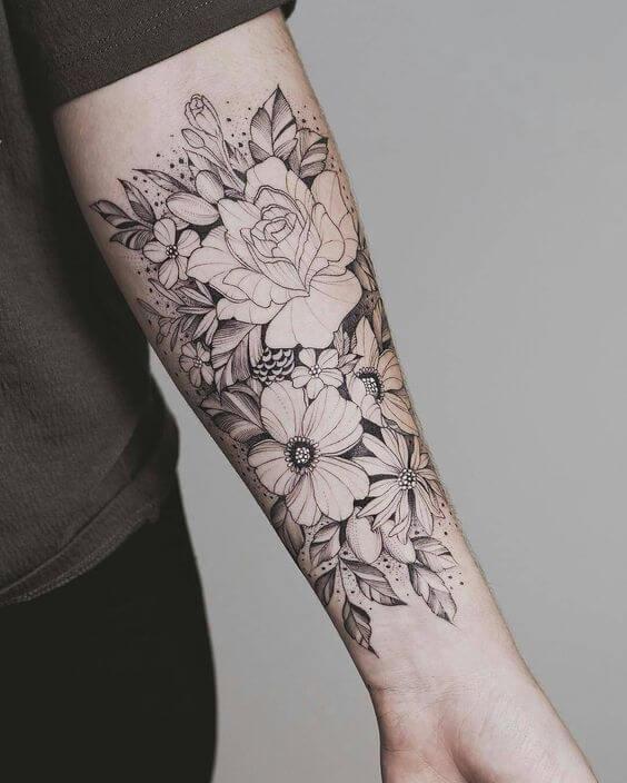 Flower Arm Sleeve : flower, sleeve, Sleeve, Tattoos, Women, Ideas, Designs, Girls