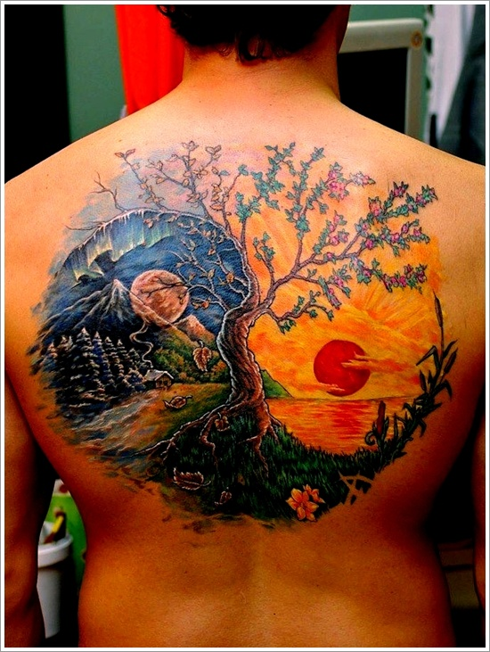 yin yang meaning tree tattoo