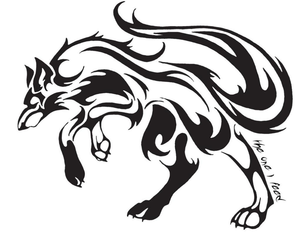 One more tribal wolf tattoo stencil