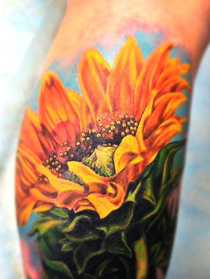 Realism Black And Grey Sunflower Tattoo