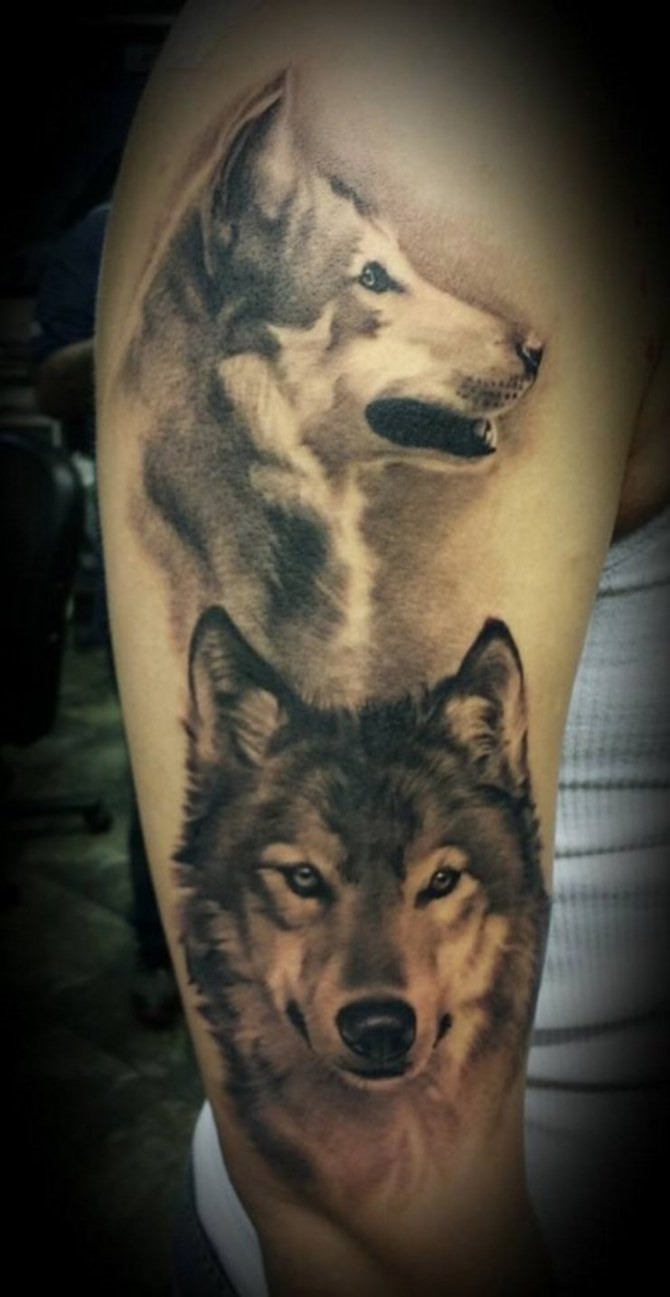 Wolf Howling At The Moon Tattoo Forearm