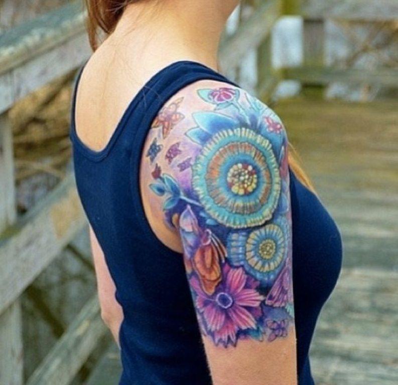 Shoulder Quarter Sleeve Sunflower Tattoo