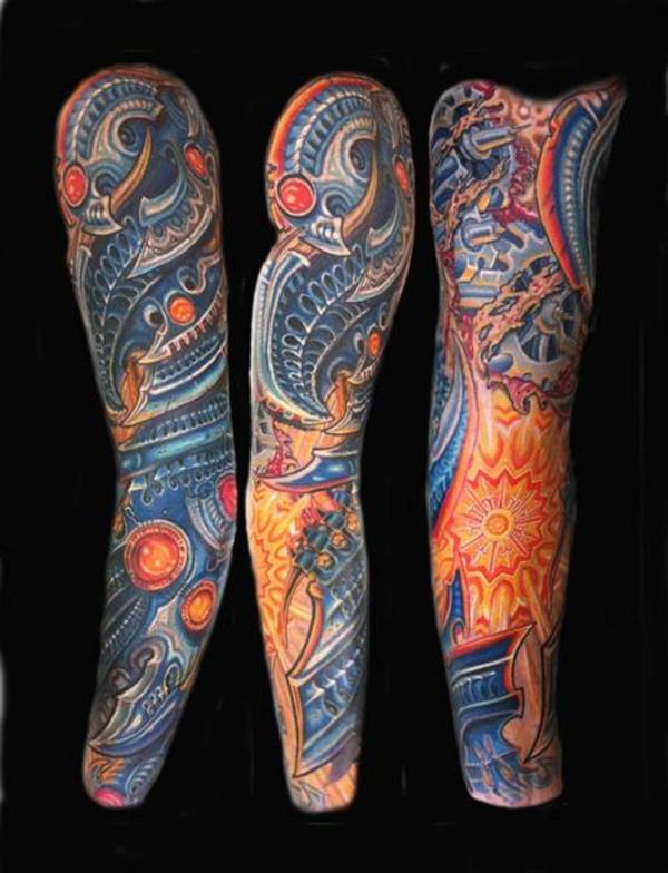 biomechanical sleeve tattoos