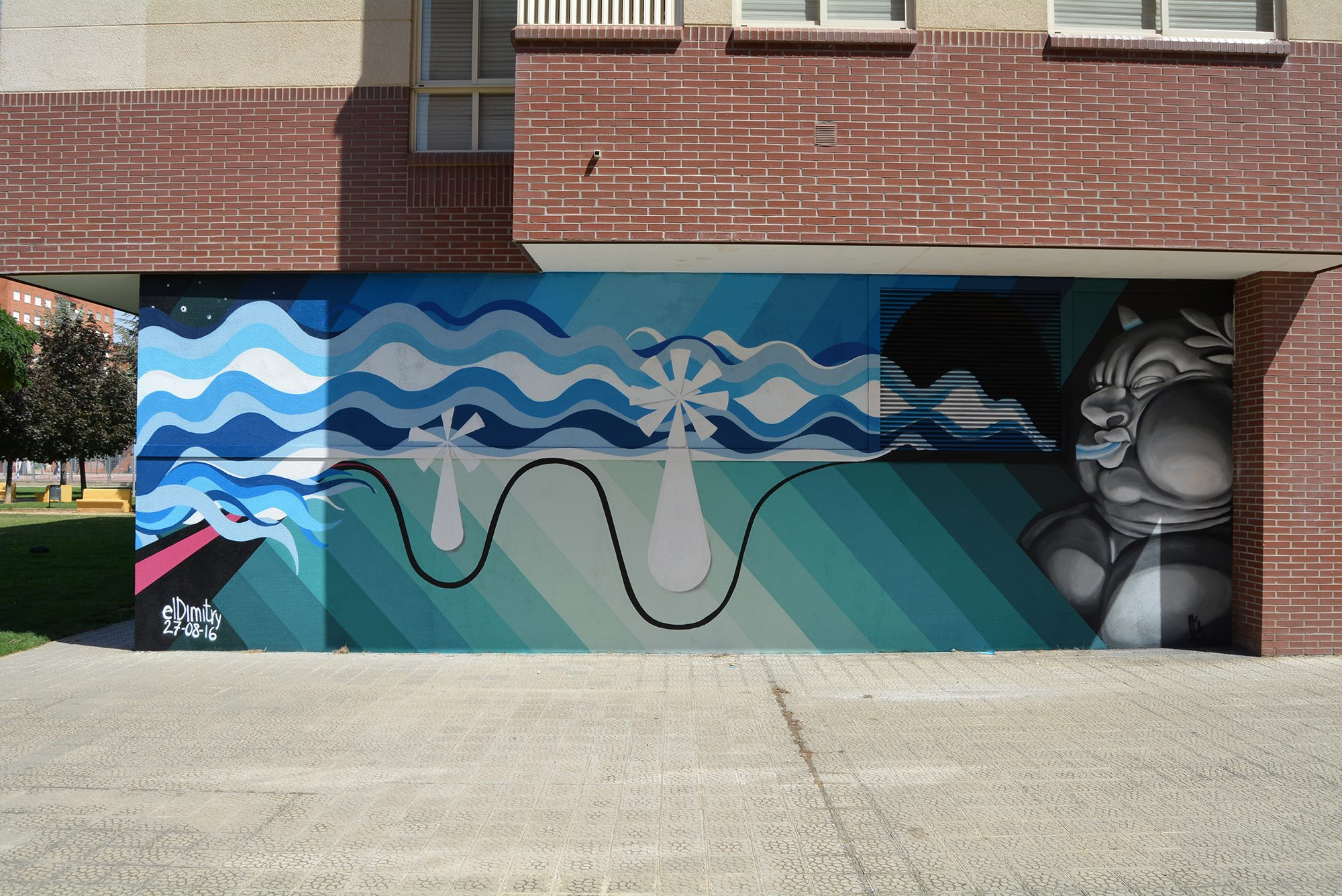 mural soplón graffiti palencia ingenieros insdustriales colegio oficial
