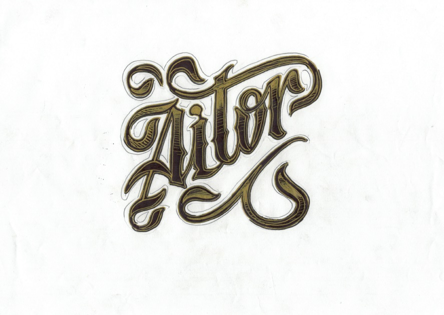 lettering aitor tattoo palencia pared