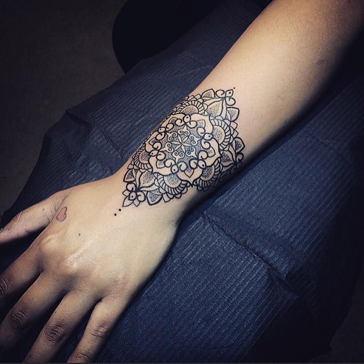 Pretty Mandala Wrist Tattoo  Best Tattoo Ideas & Designs