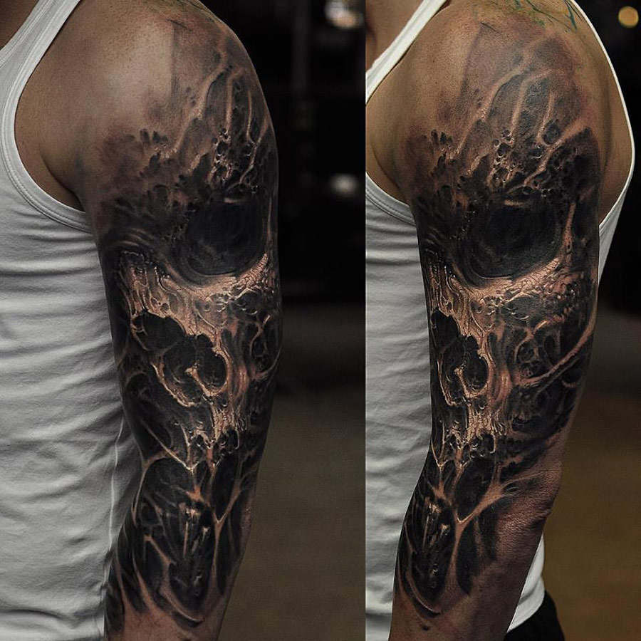 Evil Skull Sleeve  Best Tattoo Ideas & Designs