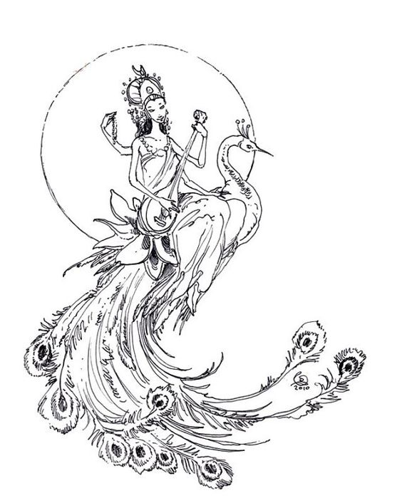 Big uncolored peacock with indian god rider playing a