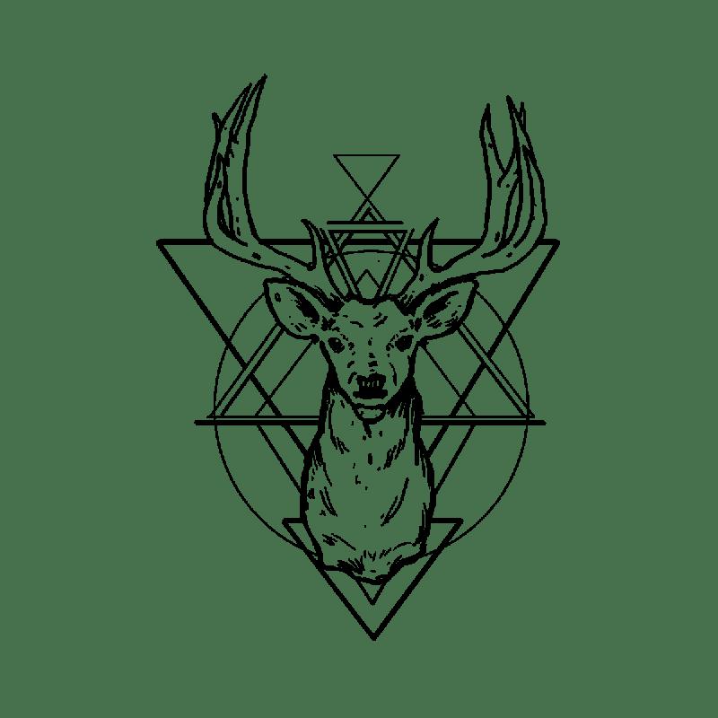 Good outline deer head on geometric background tattoo