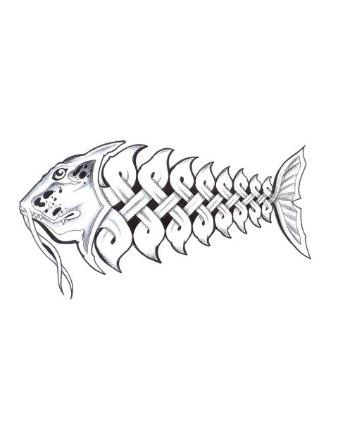 Outline Fish With Celtic Ornament Tattoo Design