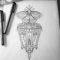 Outline moth over candle-shining street lamp tattoo design ...