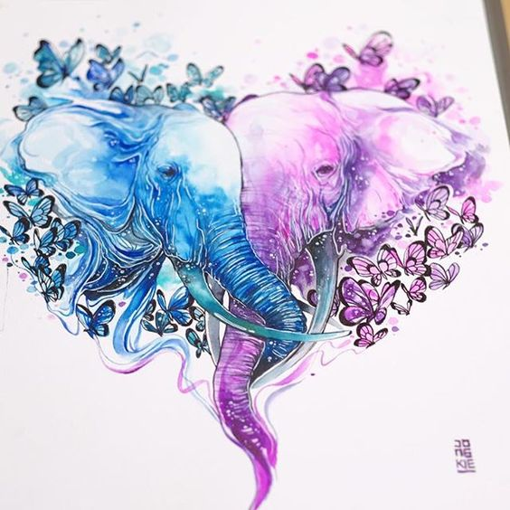 Cute Dolphin Drawing Wallpaper Romantic Purple And Blue Watercolor Elephant Couple Tattoo