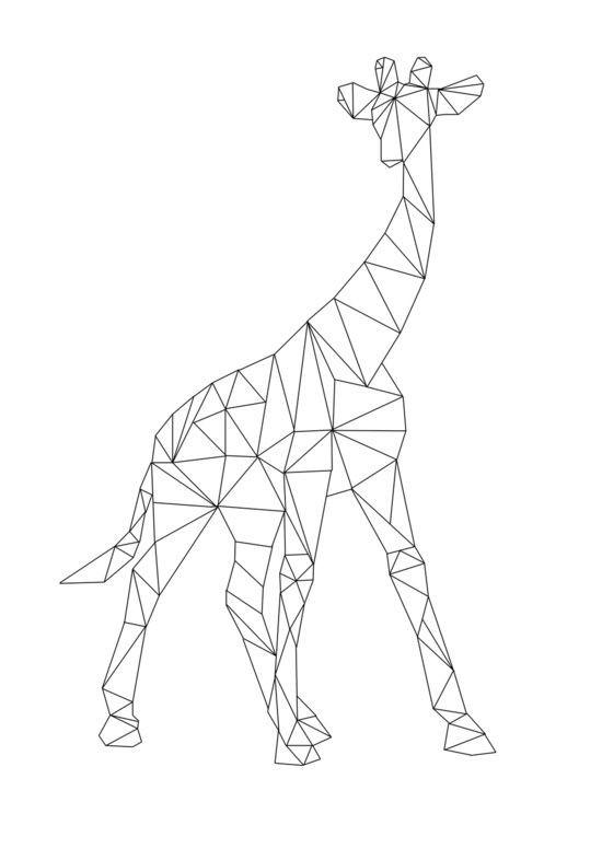 Simple geometric giraffe in full height tattoo design