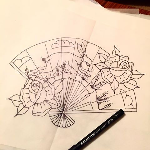 Traditional Rose Tattoo Flash Outlines