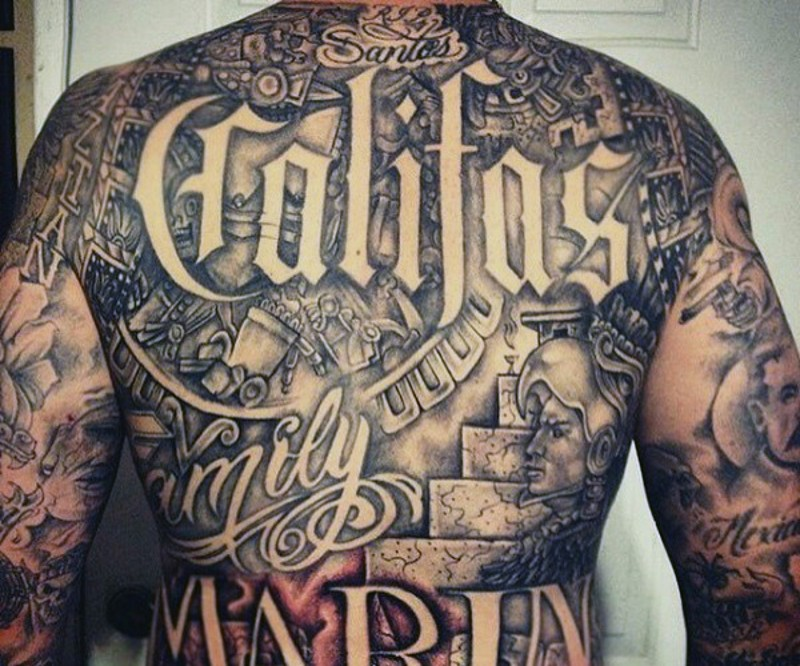 Lettering Chest Piece Tattoo