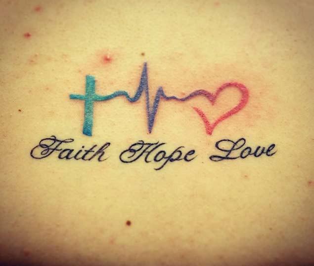 Tatuaje De Símbolos Pequeños Y Palabras Fe Esperanza Amor