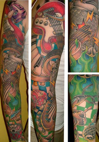 20 Music Themed Leg Tattoos Ideas And Designs