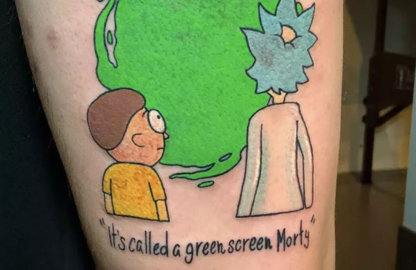rick and morty green screen tattoo