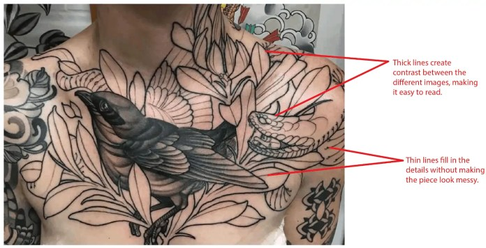 chest tattoo bird