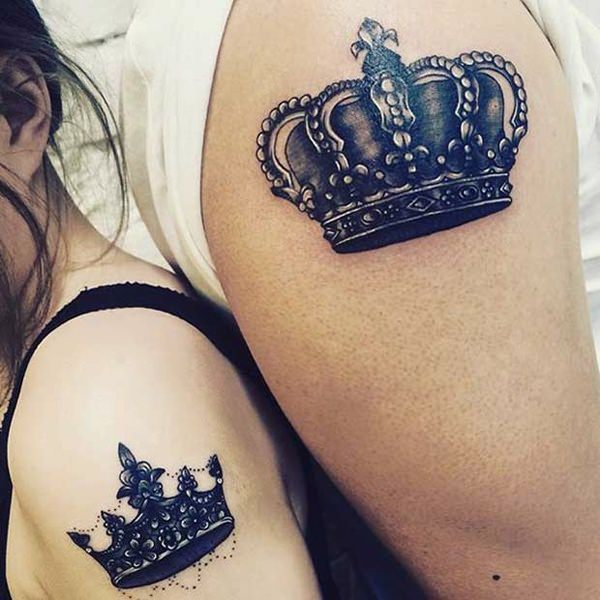 King And Queen Crown Tattoos On Wrist